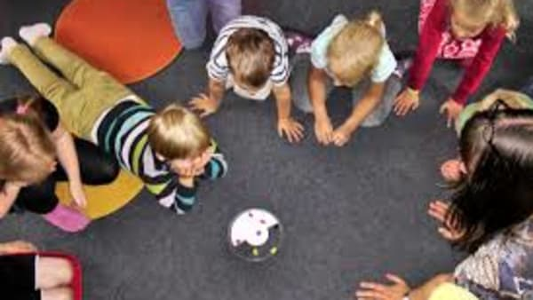 Children in a group playing on the floor